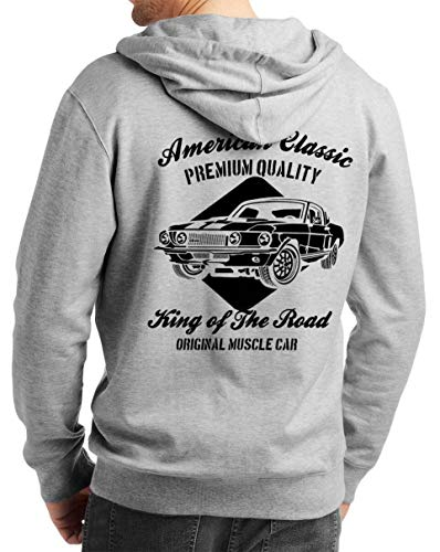Herren Zip Hoodie Sweat-Jacke mit Kapuze Kapuzen-Jacke Winter mit Motiv Bedruckt Hot-Rod US-Car Amerika Mustang Challenger Muscle-car V8 American Classics Grau Melange XL