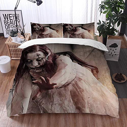 Qinniii Bedsure Funda Nórdica,Halloween Goth Gótico Miedo Horrible Zombie Mujer,Fundas Edredón 135 x 200 cmcon 1 Funda de Almohada 40x75cm