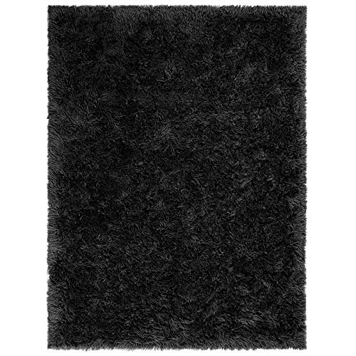 BAYKA Fluffy Machine Washable Area Rug Indoor Ultra Soft Shag Area Rug bedroom or dorm room, Non-Slip Floor Carpet for Kids Home Decor Nursery Rug 4x5.3 Feet Black