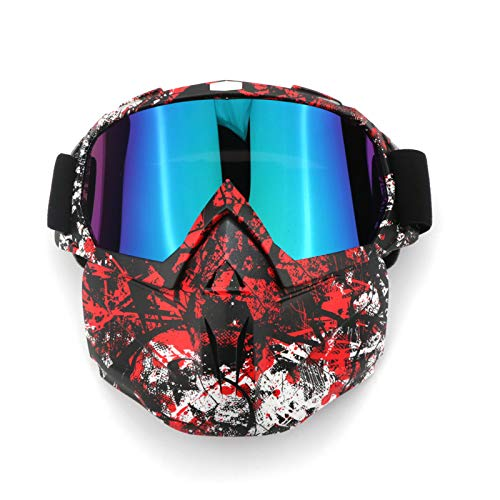 EKIND Tactical Paintball Mask, Retro Motorcycle Goggles with Removable Face Mask, Airsoft Safety Goggles Mask UV400 Protection Compatible for Nerf Elite Toy Gun Game Rival Ball (Red Black)