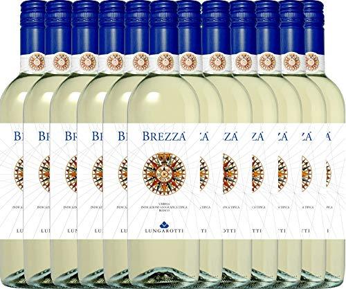 VINELLO 12er Weinpaket Weißwein - Brezza Bianco 2020 - Lungarotti mit einem VINELLO.weinausgießer | trockener Weißwein | italienischer Sommerwein aus Umbrien | 12 x 0,75 Liter