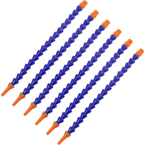 SPTwj 6 Stück Plastic Flexible Wasser Öl Kühlmittel Rohr Schlauch Runddüse Kühlmittel Gewindeschlauch für Fräsen Drehbank CNC Hydraulische Drehmaschine Maschinen Wasserkühlsystem 30cm blau