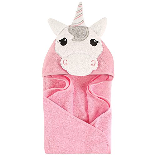Hudson Baby Unisex Baby Animal Face Hooded Towel, Unicorn 1-Pack, One Size