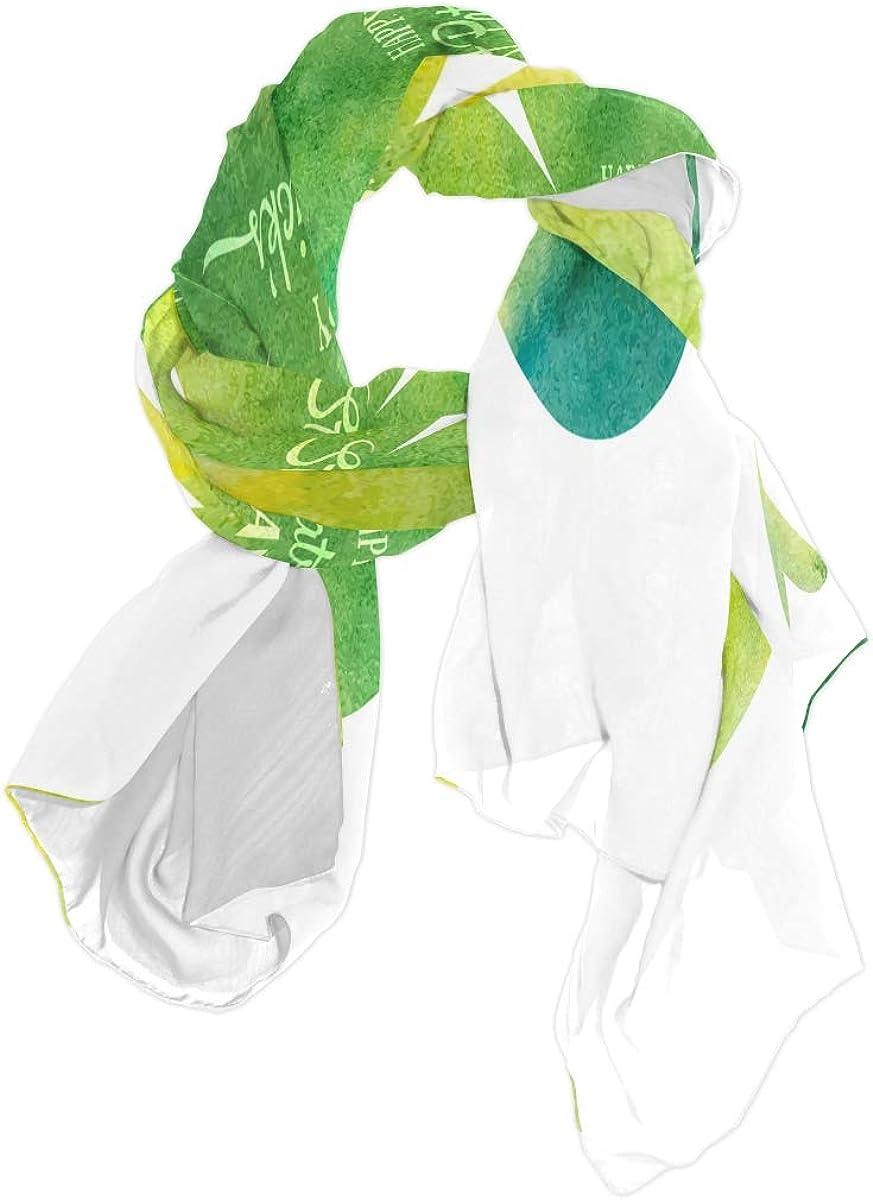 AUUXVA Fashion Scarf Abstract Happy Saint Patrick's Day Clover Long Lightweight Sunscreen Scarf Shawl Wrap Muffler Neckerchief for Women Men