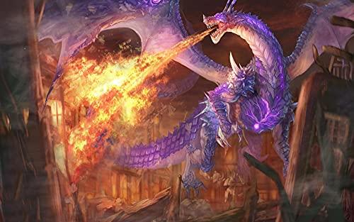 ZGNH Pintura por numeros pintura acrilica adultos niños y principiantes pintar con numeros Kit(40x50cm sin Marco lona)Decoración del Hogar Regalo -Criatura dragón que escupe fuego