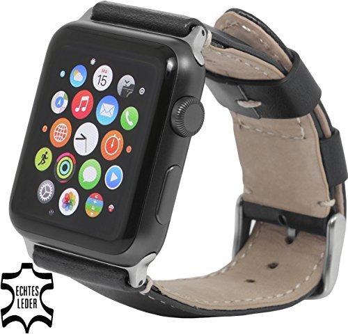 StilGut Armband, Uhrenarmband, Watch Strap aus italienischem Leder für Apple Watch 42mm, Schwarz