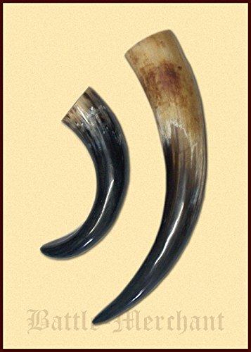 Battle-Merchant Trinkhorn aus echtem Horn ca. 300ml - Methorn Drinking Horn Mead für Mittelalter, Wikinger und LARP
