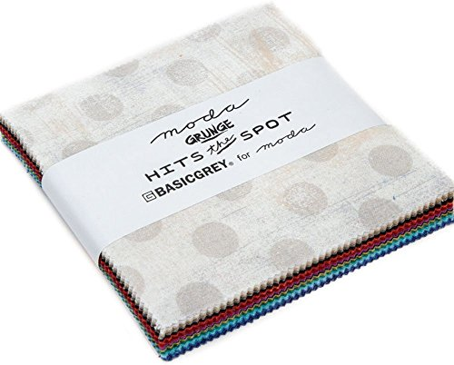 BasicGrey Grunge Hits the Spots Charm Pack 42 5-inch Squares Moda Fabrics 30149PP