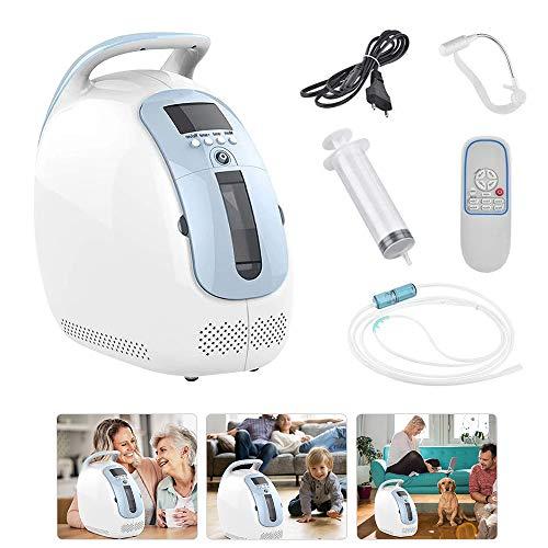 KKTECT Máquina de oxígeno Máquina de Suministro de oxígeno purificador de Aire Generador de oxígeno portátil Ajustable de 1-5 L/min Inicio Viaje Anciana Embarazada Uso Continuo por 24 Horas