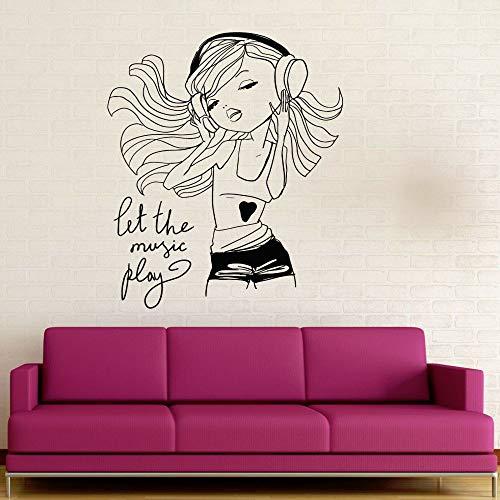 Mädchen Genießen Musik Wandaufkleber Vinyl Kopfhörer Teenager Mädchen Schlafzimmer Raumdekoration Cartoon Charakter Abnehmbare Aufkleber Hausgarten Wandaufkleber Violet 31 56x71 cm