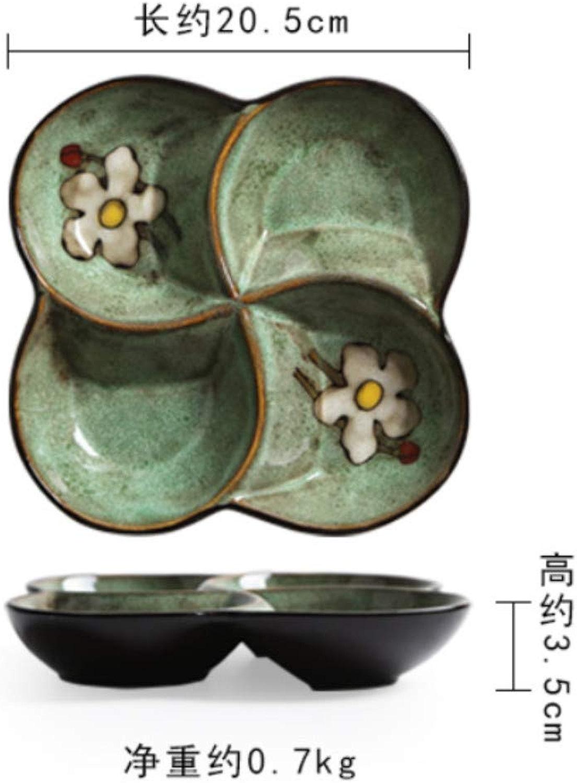 ALILEO Vaisselle En Céramique Plaque De Grille Créative Ménage Quatre Plaque De Grille Assiette De Fruits Secs Assiette Plaque Assiette - Vert