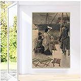 Xynfl James Tissot 《Adiós, en el Mersey》 Arte de la Lona Pintura al óleo Obra de Arte Impresión Imagen Decoración de la Pared Decoración de la Sala de Estar del hogar 60x80cmx1 Sin Marco