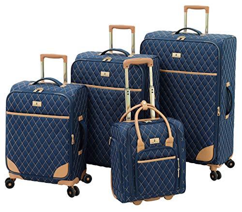 LONDON FOG Queensbury Softside Spinner Luggage, Navy, 4 Piece Set