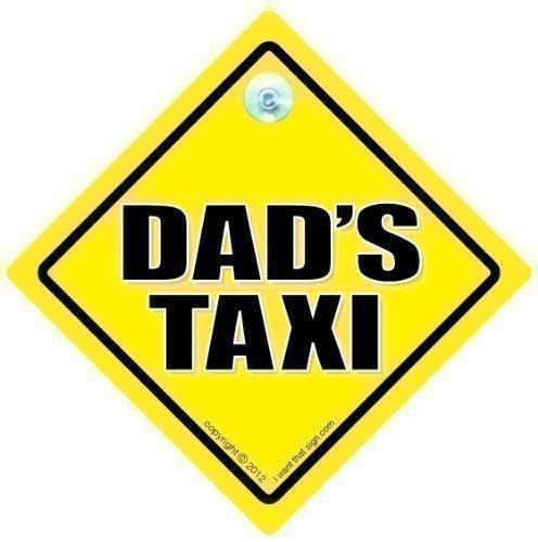 Dad's Taxi, Taxi Auto Schild, Taxi-schild, Väter Gelb Text, Baby on Board Zeichen, Stoßstangenaufkleber, board, Aufkleber, Straßenschild, Auto-aufkleber, Taxi-Schild