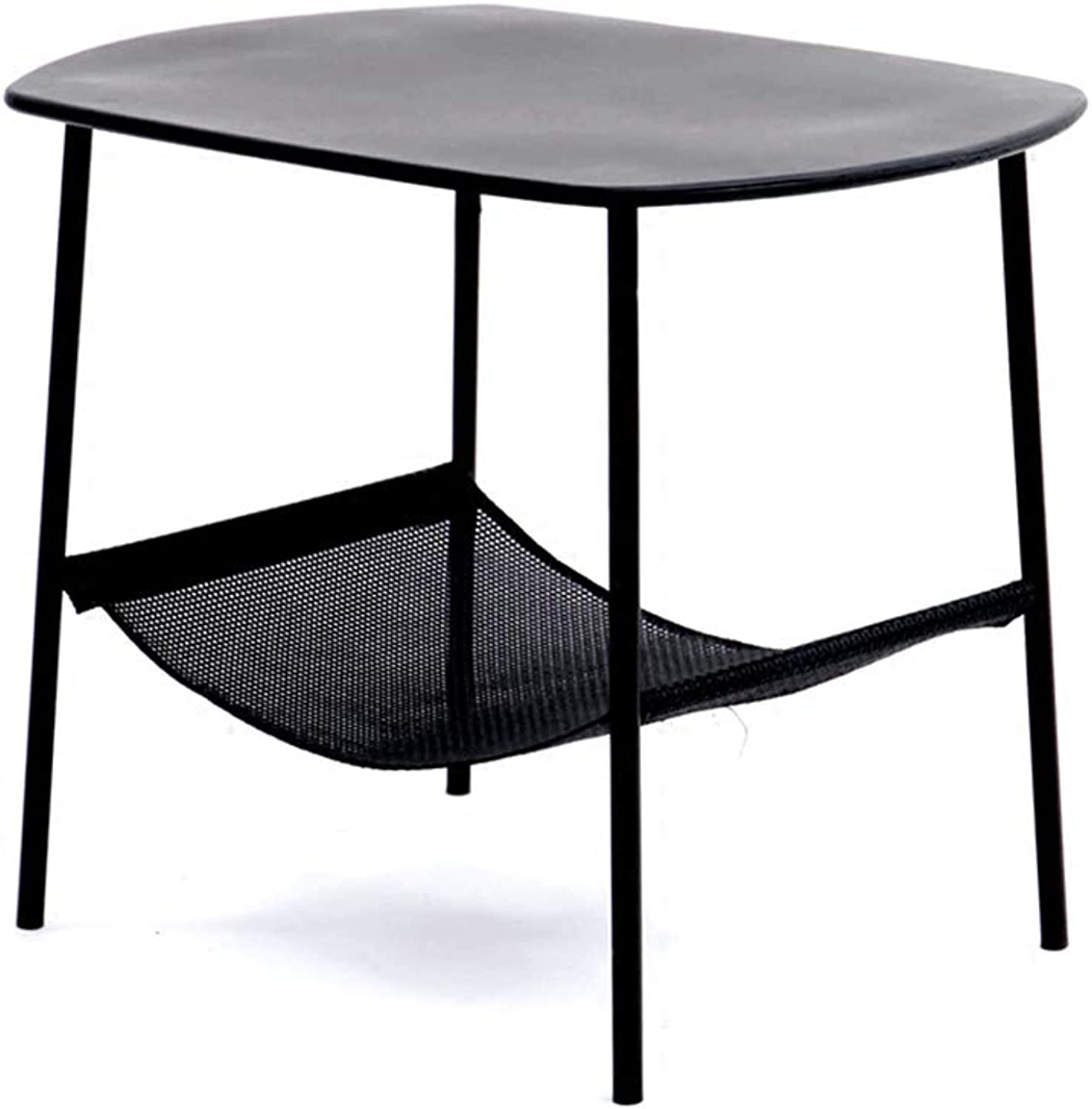XIAOYAN End Table Nordic Wrought Iron Modern Minimalist Side Table Multi-Function Living Room Bedroom Mini Coffee Table Storage Table Black Multifunction