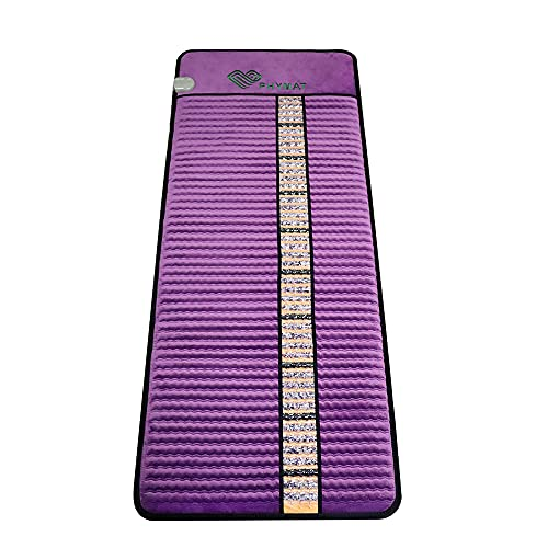 PHYMAT Far Infrared Amethyst Heating Pad(Large 65x25inch) -Natural Crystal Heat Mat - Amethyst Infrared Heating Mat with Auto Shut Off - Overheat Protection,Smart Control