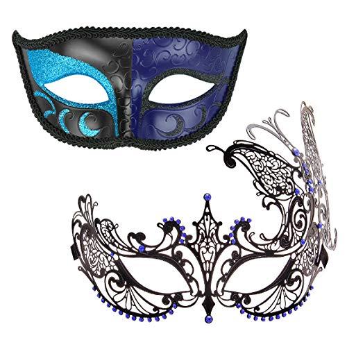 Máscara veneciana para disfraz de Halloween, disfraz de carnaval para parejas, disfraz de Mardi Gras (Color 32)