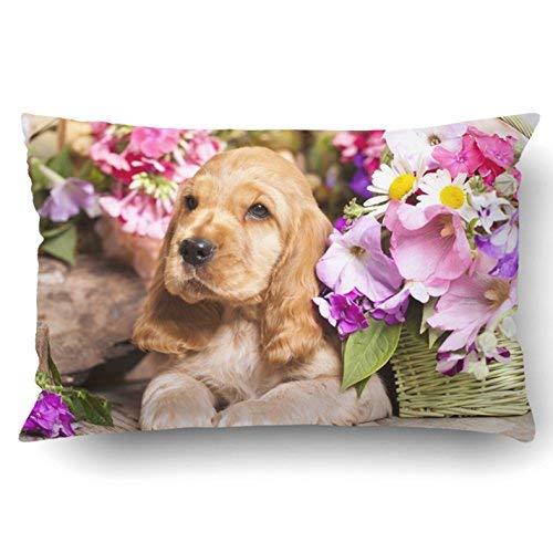 GFGKKGJFD313 Fundas de almohada de algodón, 20 x 30 cm, diseño de cachorro, flores en cesta, fundas de cojín decorativas cuadradas para sofá, accesorios para el hogar