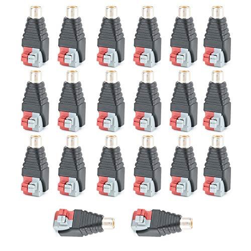 FILFEEL Cable de Altavoz de 20 Piezas a Conector RCA Hembra de Audio Conector Adaptador de Terminal Conector para CCTV/Terminal Conector RCA de Audio/vídeo
