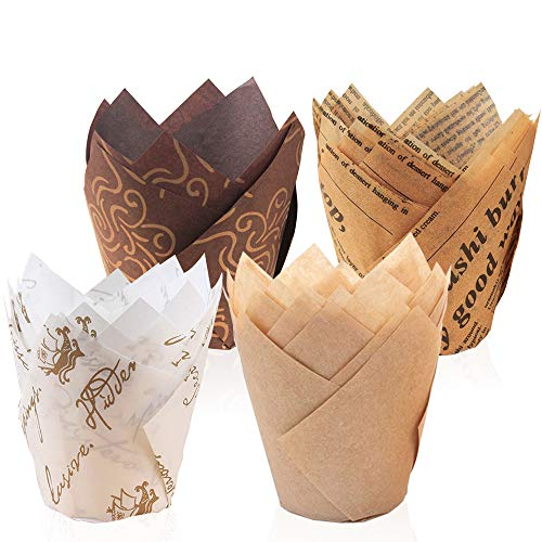 Meilo Pirottini di Carta,Pirottini per Muffin e Cupcake 200Pezzi Pirottini di Carta per, Cioccolatini Forno Dessert Torta, 4 Stili (200pcs/pack)