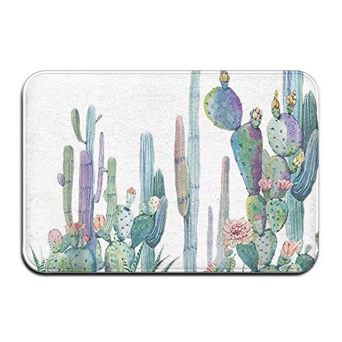 Quafoo rutschfeste Matte 40x60cm Fußmatte Nautische Flip Flops Türmatte Badezimmerteppich, A220 Pflanzen Kaktus, Einheitsgröße