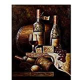 Clásico botella de vino tinto pintura bodegón lienzo impresiones sobre lienzo arte de la pared Decoracion Cuadros 50x70 cm x1 Sin marco
