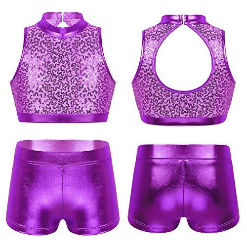 TiaoBug Kids Girls Basic 2 Piece Active Dancewear Outfit Floral Lace Crop Top and Shorts Set for Gymnastics Dancing Workout Cutout Back Purple 8-10