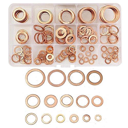 Yulakes Assortiment de 150 bagues en cuivre - Joints en cuivre - Kit d'étanchéité - Vis de vidange d'huile - Joints de vidange d'huile - Rondelles en cuivre