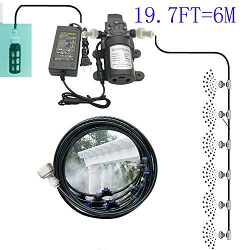 ZXL Trampoline sproeier koelsysteem voor broeikas 19,7 FT = 6 m set elektrische membraanpomp waterpomp automatisch met nevel draagbaar