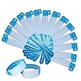 SwirlColor Pulsera Identificación Niños, brazaletes Desechables Impermeables Pulseras para Eventos ID de PVC Pulsera de Seguridad- 100 Pieza (Niño, Azul)