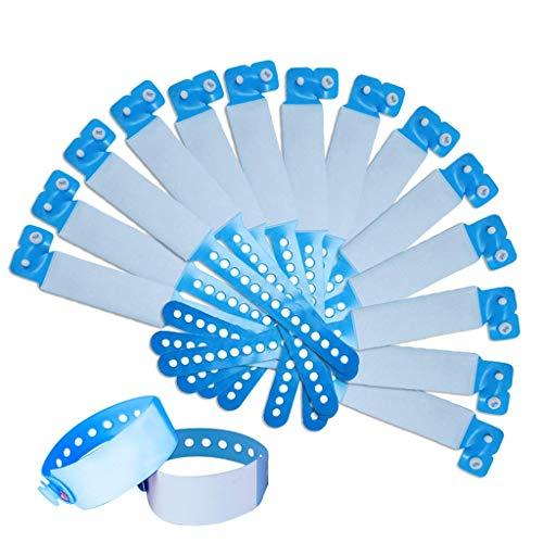 SwirlColor SOS ID Armband Kinder, VIP Armbänder wasserdichte Einweg PVC Event Armband id Band Kinder -100 Pack (Kinder, Blau)