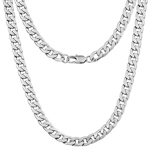 Silvadore 9mm Curb Mens Necklace - Silver Chain Flat Cuban Stainless Steel Jewelry - Neck Link Chains for Men Man Boys Male Heavy Military - 18 20 22 24 inch (20, Velvet Pouch)