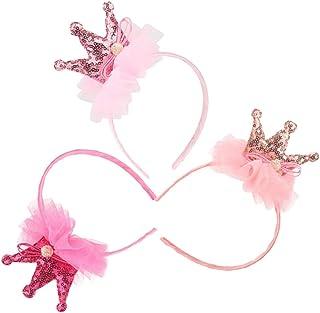 Lurrose 3pcs ragazza paillettes tiara corona, bella capelli fasce kit principessa Hair Hoop per bambini forniture per fest...