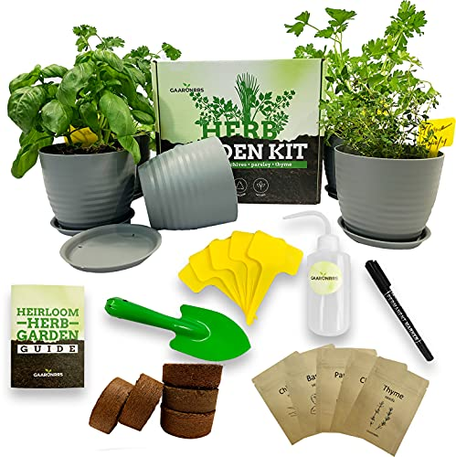 Indoor Herb Garden Starter Kit - Complete Window Gardening Kit with 5 Planter Pots, Coco Soil Pellets, Labels, Marker - Non-GMO, Heirloom Seeds: Basil, Cilantro, Chives, Parsley, Thyme