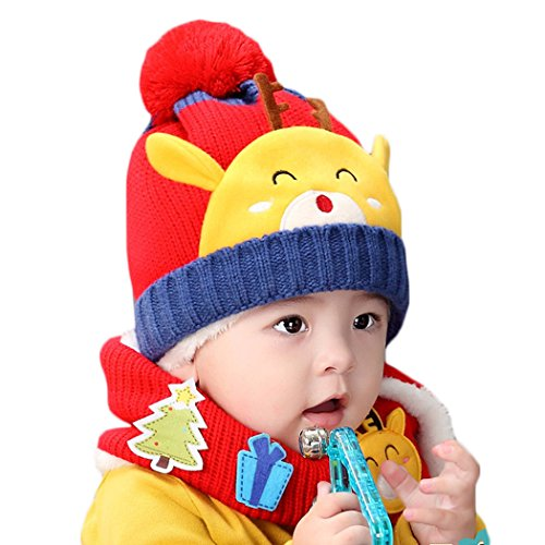 Hikfly Winter Knit Beanie Cap Scarf Set for Baby Girls Boys Toddlers Outdoor Sports Thermal Hat Warmer Scarf Xmas Gift (6-36 months) (Red, Deer)