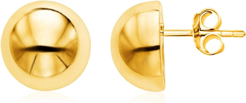 14k Yellow Gold Polished Half Ball Post Earrings