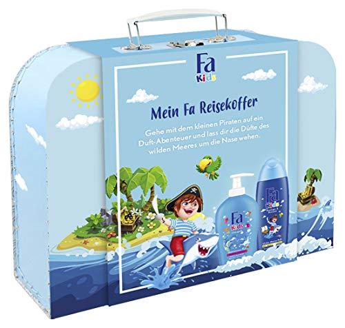 Fa cadeauset Kids jongens 250 ml douchegel & shampoo, 250 ml kinderzeep met persoonlijke reiskoffer, 500 ml
