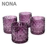 NoNa ORIS brombeer lila - 4er Set Teelichtglas - Teelichtgläser Kerzenglas Kerzengläser Windlicht...