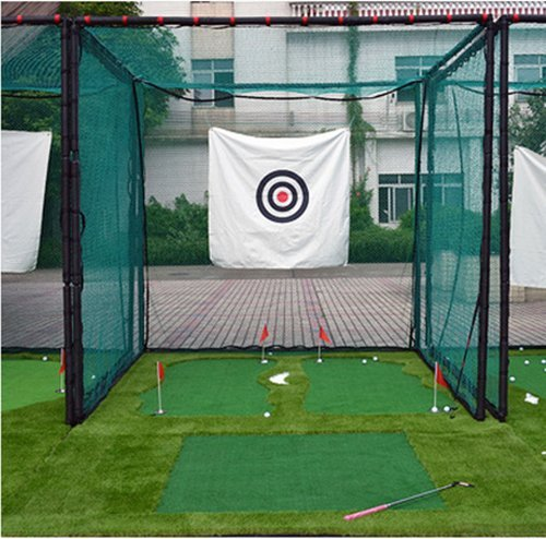 10'x10'x10' Golf Hitting Cage Target Net with Complete Frame Kit & Poles and Foam Pipe Protection Cover,Heavy Duty Net with Target Cloth
