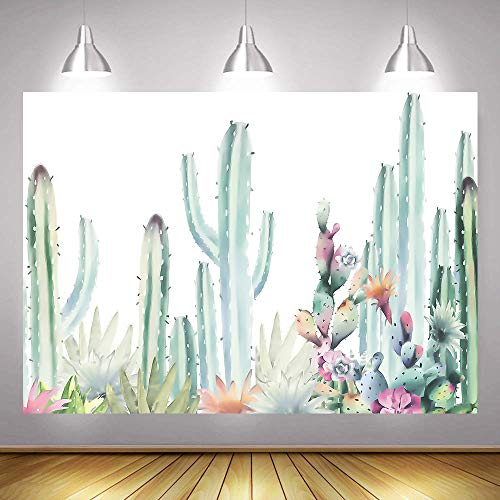 Watercolor Cactus Floral Theme Photo Backdrops 7x5ft Baby Shower Bridal Shower Fiesta Birthday Mexican Photography Background Cloth Kid Portrait Photo Studio Props Vinyl