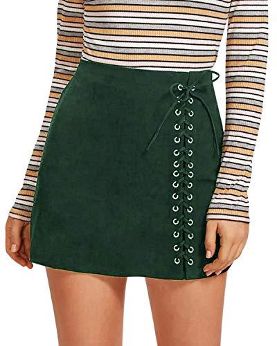CNFIO Damen Rock Sexy Kleider Spitze Bodycon Bandage Reißverschluss Minirock Partyrock Rock C-Grün EU36-38