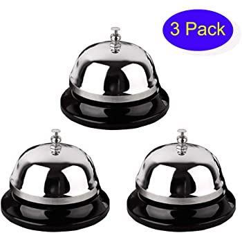 Call Bell, 3 Pack Service Bell, 3.38 Inches in Diameter, Metal Desk Bell