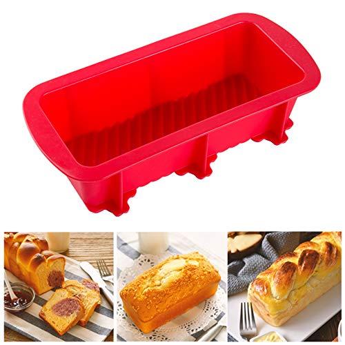 LIHAO Backform Silikon Kastenform Brotbackform für Kuchen und Brote, 27 x 12 x 6 cm, Rot (MEHRWEG)