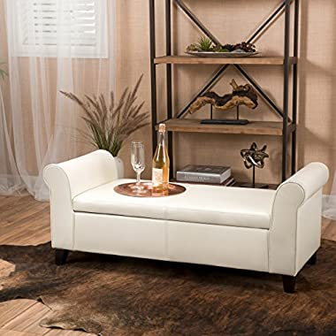 Danbury Off-White Leather Armed Storage Ottoman Bench