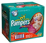 Pampers Baby Dry Diapers, Size 1-2, 192-Count