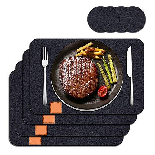 FAM STICKTILES Filz Tischsets, Anti-Rutsch Platzsets Abwaschbar Hitzebeständig Tischset aus Filz (4 Untersetzer+4 Platzdeckchen) - 44x32 cm