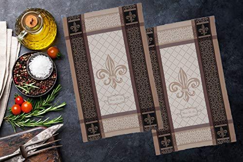 """Jorina Fleur de Lis Kitchen Towels 20"""" x 30"""" 100% Cotton. 2 Pack Le Jacquard Francais"""