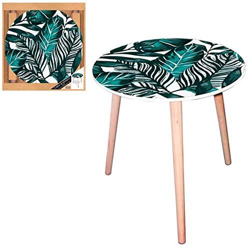 Les Trésors De Lily [Q5150 - Table Ronde résine 'Tropical' Vert (Fleurs Tropicales) - 40 cm