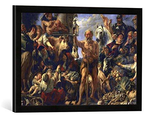 Gerahmtes Bild von Jacob Jordaens Diogenes mit der Laterne, auf dem Markte Menschen suchend, Kunstdruck im hochwertigen handgefertigten Bilder-Rahmen, 60x40 cm, Schwarz matt