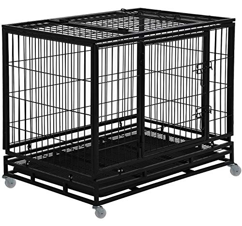 Dog Crate Dog Cage Dog Kennel for Large Dogs Heavy Duty 48 Inches Pet Playpen for Training Indoor Outdoor with Plastic Tray Double Doors & Locks Design